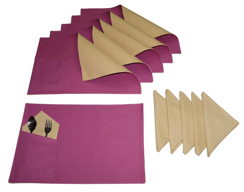 Lushomes Bi Color Bordeaux and Sand Placemats & Napkins