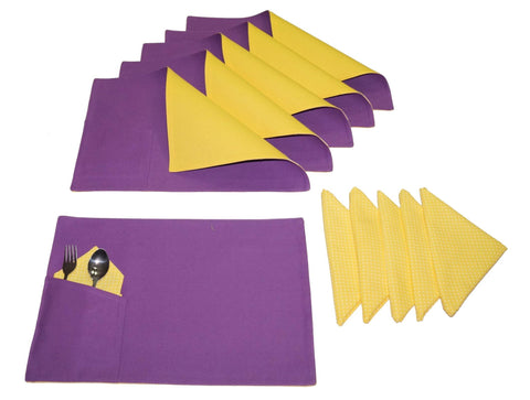 Lushomes Bi Color Royal Lilac and Lemon Chrome Placemats & Napkins