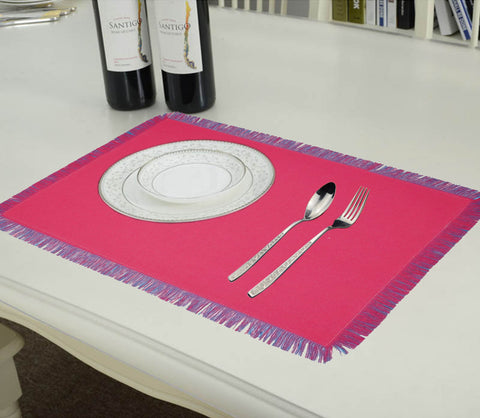 Lushomes Reversible Fringe Placemats, Ocean Blue & Light Pink (Pack of 6)