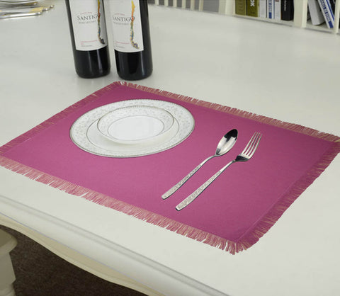 Lushomes Reversible Fringe Placemats, Cream & Dark Pink (Pack of 6)
