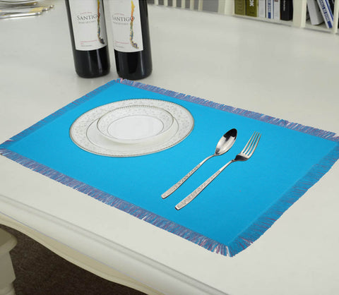 Lushomes Reversible Fringe Placemats, Ocean Blue & Dark Pink (Pack of 6)