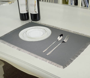 Lushomes Reversible Fringe Placemats, Grey & Cream (Pack of 6)