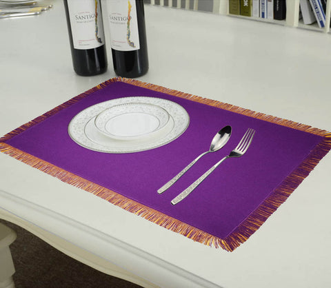 Lushomes Reversible Fringe Placemats, Purple & Yellow (Pack of 6)