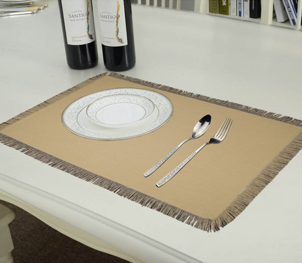 Lushomes Reversible Fringe Placemats, Cream & Black (Pack of 6)