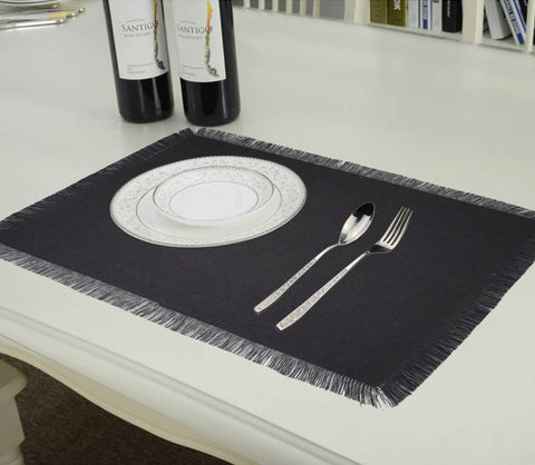Lushomes Reversible Fringe Placemats, Grey & Black (Pack of 6)
