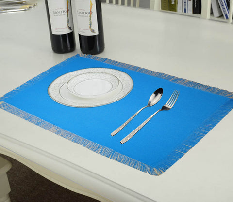 Lushomes Reversible Fringe Placemats, Dark Blue & Cream (Pack of 6)