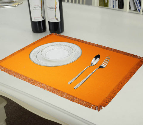 Lushomes Reversible Fringe Placemats, Orange & Brown (Pack of 6)