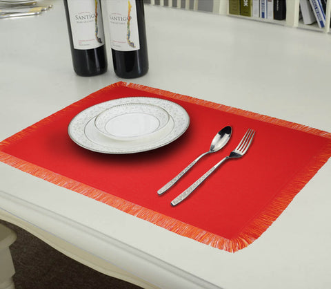 Lushomes Reversible Fringe Placemats, Orange & Red (Pack of 6)