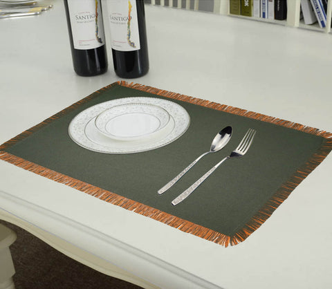 Lushomes Reversible Fringe Placemats, Orange & Dark Green (Pack of 6)