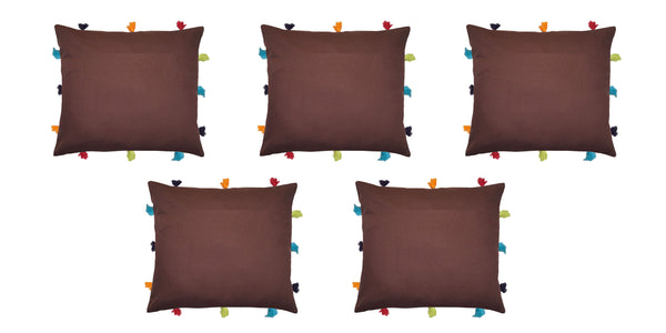 Lushomes French Roast Cushion Cover with Colorful tassels (5 pcs, 12 x 12‰۝)