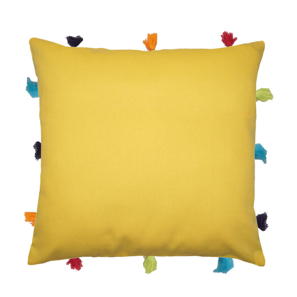 Lushomes Lemon Chrome Cushion Cover with Colorful tassels (Single pc, 12 x 12‰۝)