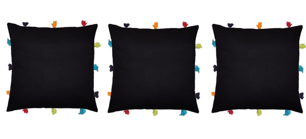 Lushomes Pirate Black Cushion Cover with Colorful tassels (3 pcs, 12 x 12‰۝)