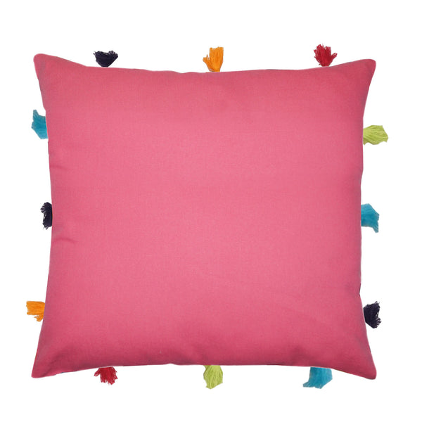 Lushomes Rasberry Cushion Cover with Colorful tassels (Single pc, 12 x 12‰۝)