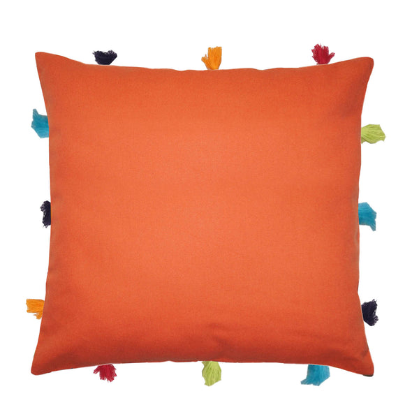 Lushomes Red Wood Cushion Cover with Colorful tassels (3 pcs, 12 x 12‰۝)