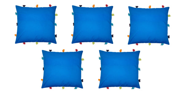Lushomes Sky Diver Cushion Cover with Colorful tassels (5 pcs, 12 x 12‰۝)
