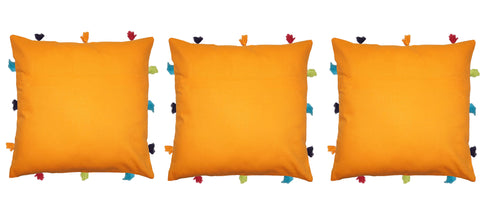 Lushomes Sun Orange Cushion Cover with Colorful tassels (3 pcs, 12 x 12‰۝)