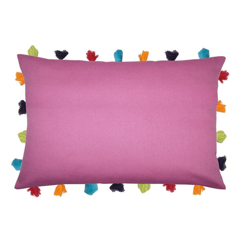 "Lushomes Bordeaux Cushion Cover with Colorful tassels (Single pc, 14 x 20"") - Lushomes"