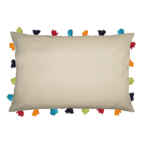 "Lushomes Ecru Cushion Cover with Colorful tassels (Single pc, 14 x 20"") - Lushomes"