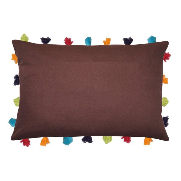 "Lushomes French Roast Cushion Cover with Colorful tassels (5 pcs, 14 x 20"") - Lushomes"