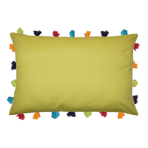 "Lushomes Palm Cushion Cover with Colorful tassels (Single pc, 14 x 20"") - Lushomes"