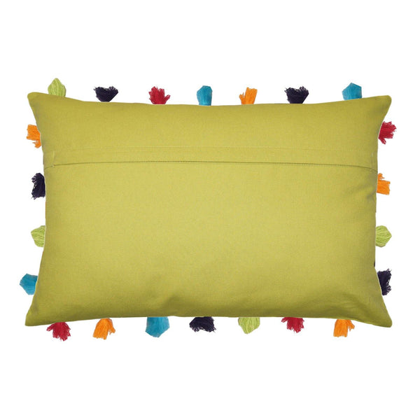 "Lushomes Palm Cushion Cover with Colorful tassels (5 pcs, 14 x 20"") - Lushomes"