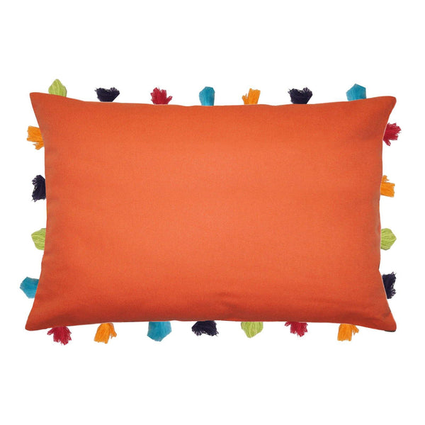 "Lushomes Red Wood Cushion Cover with Colorful tassels (3 pcs, 14 x 20"") - Lushomes"