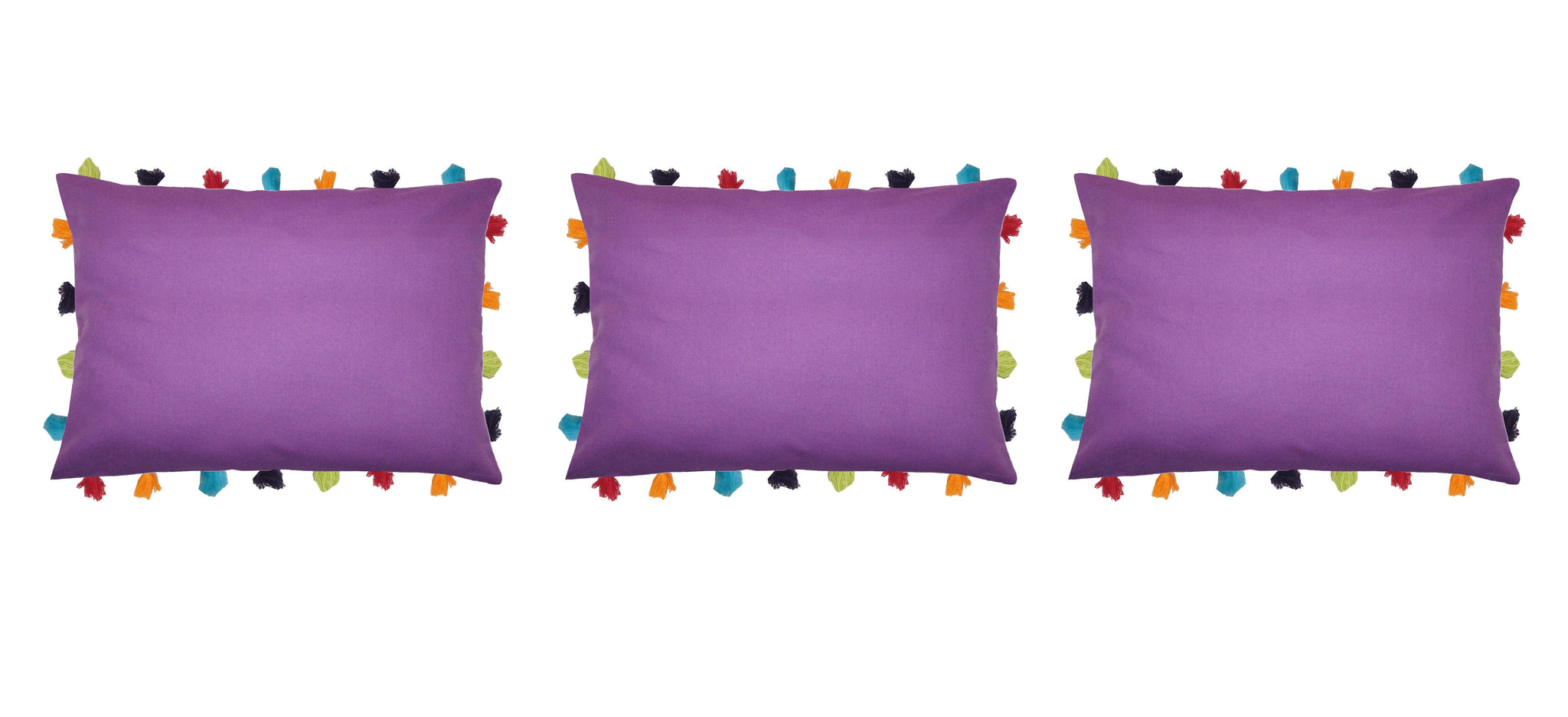 "Lushomes Royal Lilac Cushion Cover with Colorful tassels (3 pcs, 14 x 20"") - Lushomes"