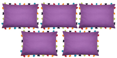"Lushomes Royal Lilac Cushion Cover with Colorful tassels (5 pcs, 14 x 20"") - Lushomes"