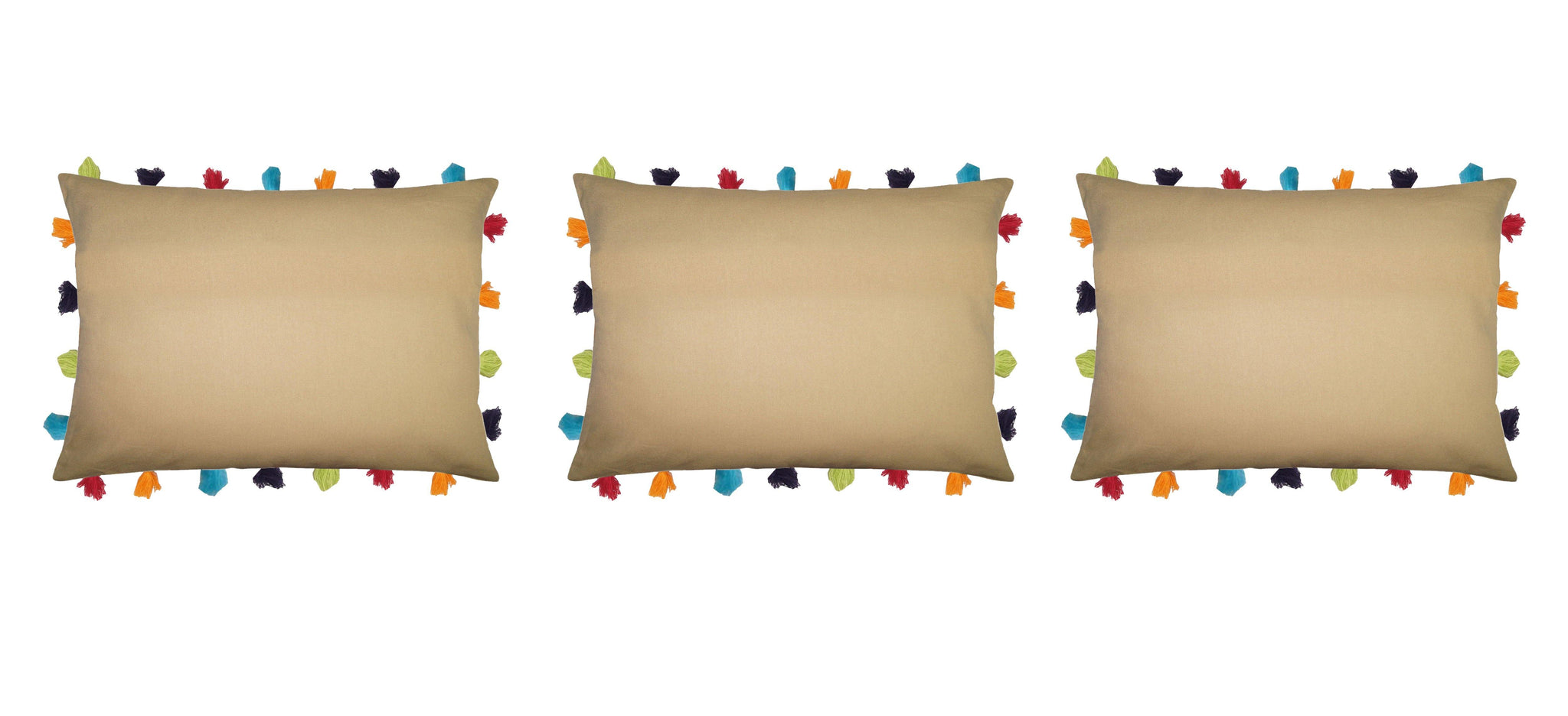 "Lushomes Sand Cushion Cover with Colorful tassels (3 pcs, 14 x 20"") - Lushomes"