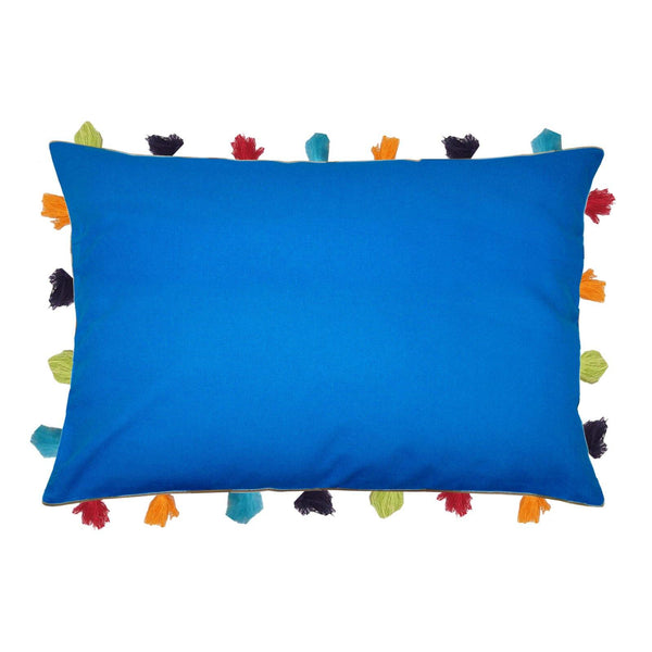 "Lushomes Sky Diver Cushion Cover with Colorful tassels (Single pc, 14 x 20"") - Lushomes"