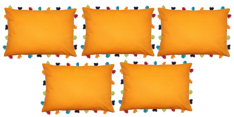"Lushomes Sun Orange Cushion Cover with Colorful tassels (5 pcs, 14 x 20"") - Lushomes"