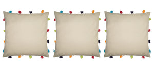 "Lushomes Ecru Cushion Cover with Colorful tassels (3 pcs, 14 x 14"") - Lushomes"