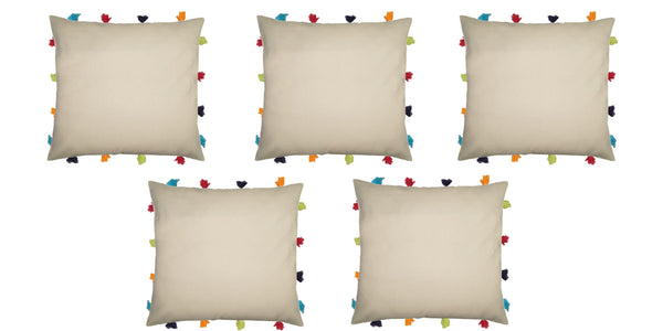 "Lushomes Ecru Cushion Cover with Colorful tassels (5 pcs, 14 x 14"") - Lushomes"