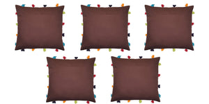 "Lushomes French Roast Cushion Cover with Colorful tassels (5 pcs, 14 x 14"") - Lushomes"