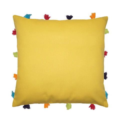 "Lushomes Lemon Chrome Cushion Cover with Colorful tassels (Single pc, 14 x 14"") - Lushomes"