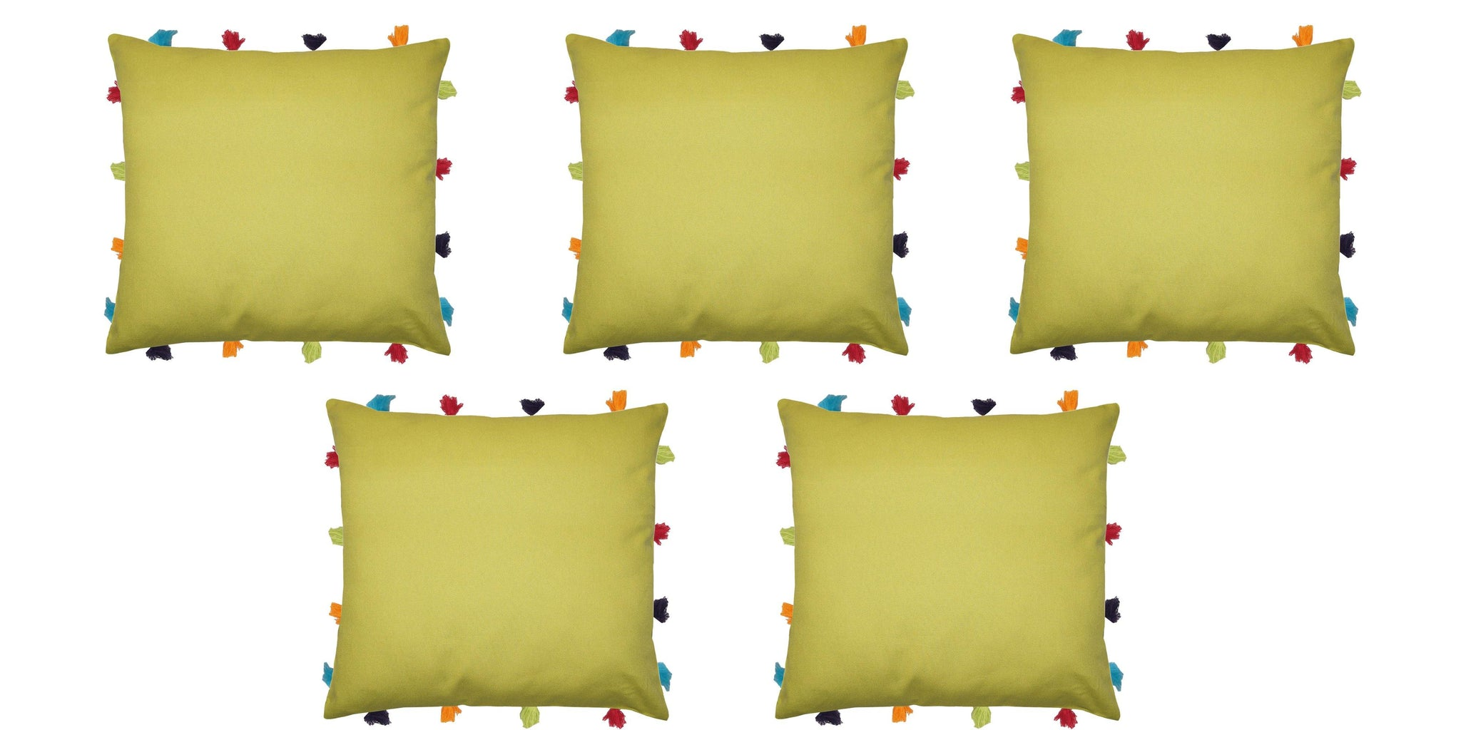 "Lushomes Palm Cushion Cover with Colorful tassels (5 pcs, 14 x 14"") - Lushomes"