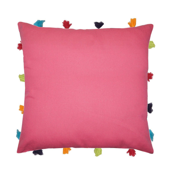 "Lushomes Rasberry Cushion Cover with Colorful tassels (Single pc, 14 x 14"") - Lushomes"
