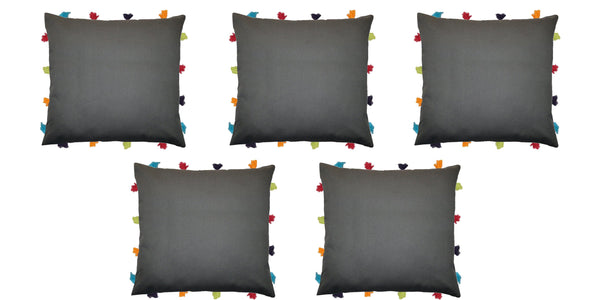 "Lushomes Sedona Sage Cushion Cover with Colorful tassels (5 pcs, 14 x 14"") - Lushomes"