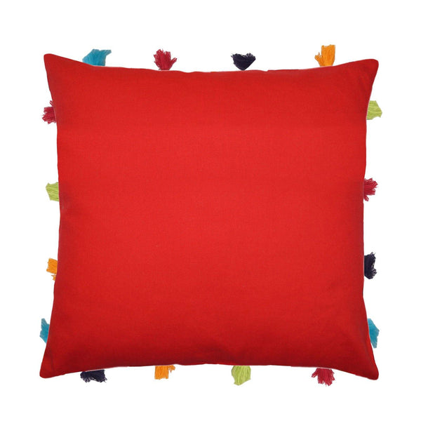"Lushomes Tomato Cushion Cover with Colorful tassels (3 pcs, 14 x 14"") - Lushomes"