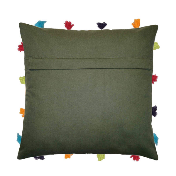 "Lushomes Vineyard Green Cushion Cover with Colorful tassels (Single pc, 14 x 14"") - Lushomes"
