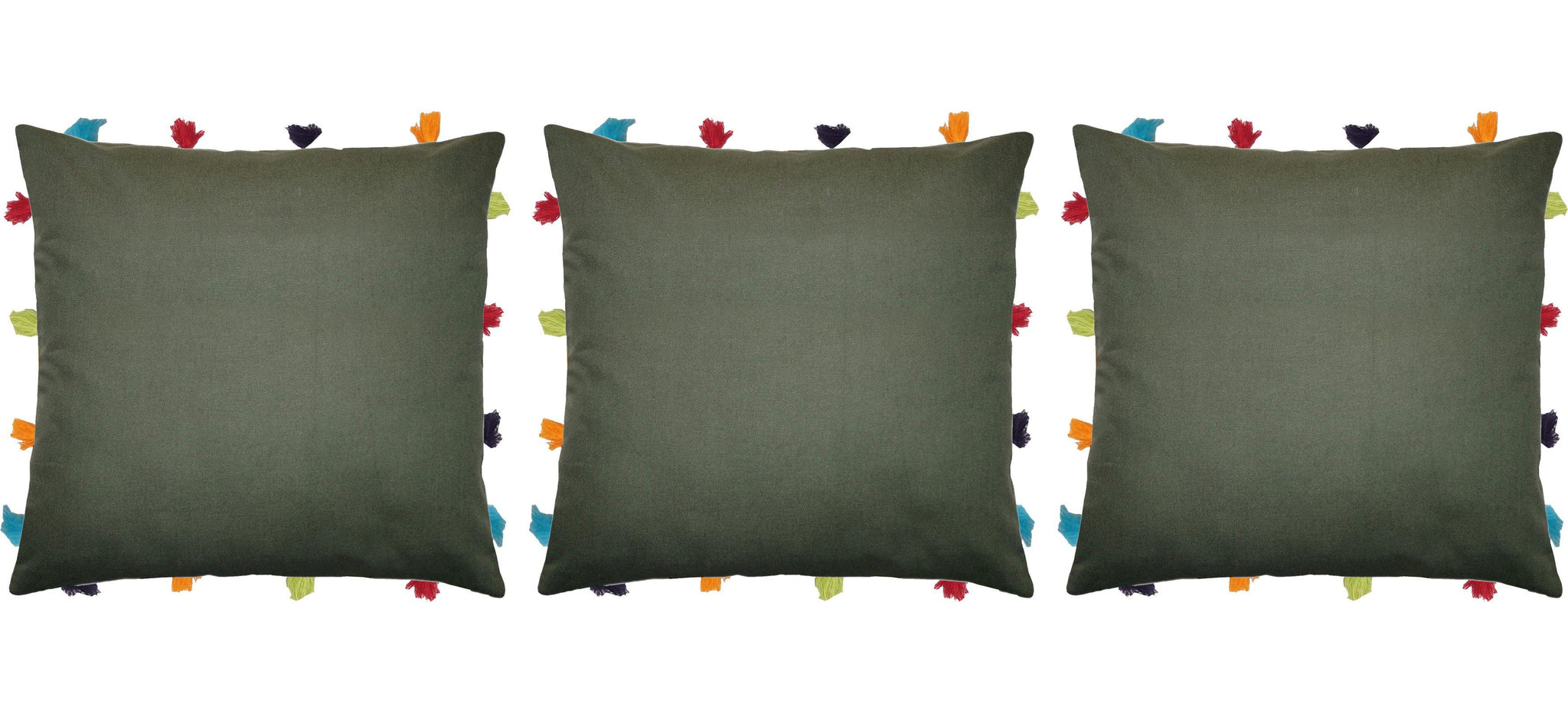 "Lushomes Vineyard Green Cushion Cover with Colorful tassels (3 pcs, 14 x 14"") - Lushomes"