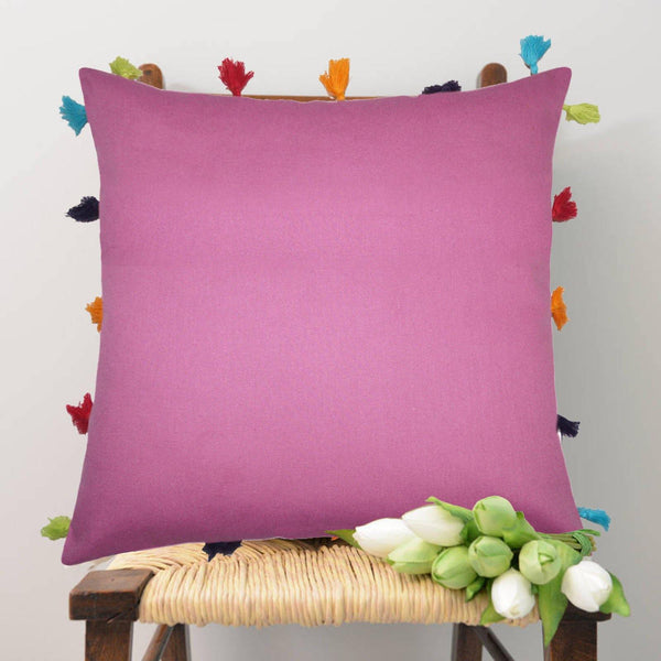 Lushomes Bordeaux Cotton Cushion Cover with Pom Pom - Pack of 1 - Lushomes
