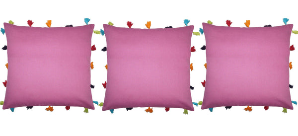 Lushomes Bordeaux Cotton Cushion Cover with Pom Pom - Pack of 1