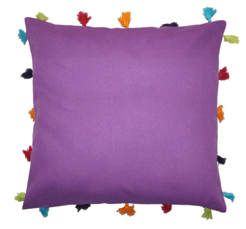 Lushomes Royal Lilac Cotton Cushion Cover with Pom Pom - Pack of 1 - Lushomes