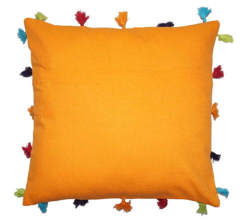 Lushomes Sun Orange Cotton Cushion Cover with Pom Pom - Pack of 1 - Lushomes