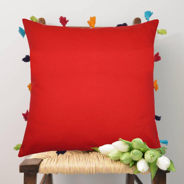 Lushomes Tomato Cotton Cushion Cover with Pom Pom - Pack of 1 - Lushomes
