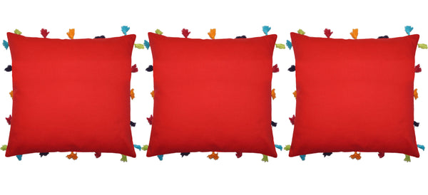 Lushomes Tomato Cotton Cushion Cover with Pom Pom - Pack of 1