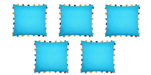"Lushomes Bachelor Button Cushion Cover with Colorful tassels (5 pcs, 18 x 18"") - Lushomes"