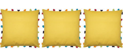 "Lushomes Lemon Chrome Cushion Cover with Colorful tassels (3 pcs, 18 x 18"") - Lushomes"