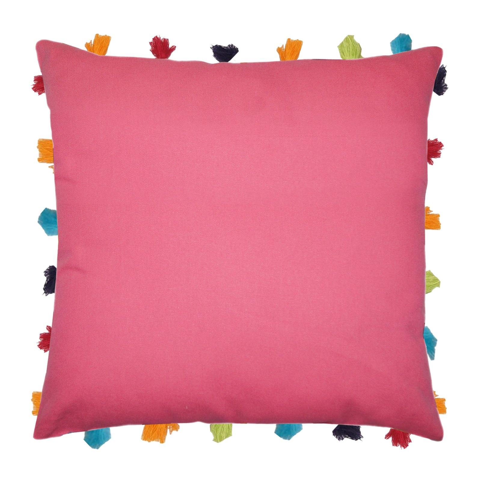 "Lushomes Rasberry Cushion Cover with Colorful tassels (Single pc, 18 x 18"") - Lushomes"